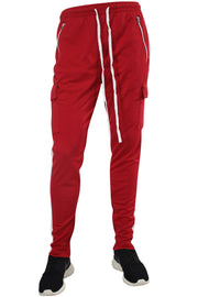 Side Stripe Cargo Track Pants Red - White (ZCM4593PS)