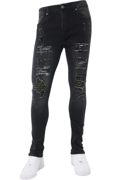Destroyed Skinny Fit Denim Black Wash (M4766D)
