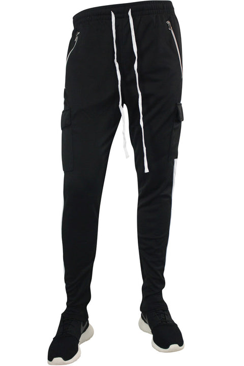 Side Stripe Cargo Track Pants Black - White (ZCM4593PS)