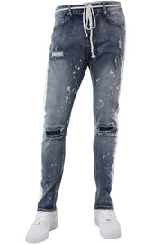 Side Stripe Distressed Skinny Fit Track Denim Bleach Splatter (M4708D) - Zamage