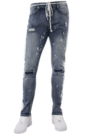 Side Stripe Distressed Skinny Fit Track Denim Bleach Splatter (ZCM4708D)