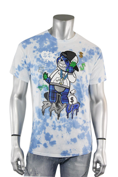 Pay Up Bear Tie Dye Tee Blue (2325TD)
