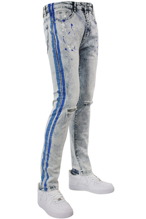 Neon Stripe Print Skinny Fit Track Denim Blue Wash - Blue (M4701DB)