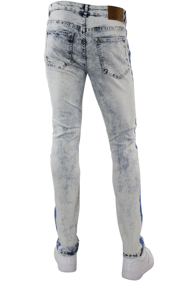 Neon Stripe Print Skinny Fit Track Denim Blue Wash - Blue (M4701DB) - Zamage