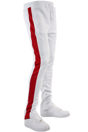 One Stripe Track Pants White - Red (100-403) - Zamage