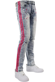 Neon Stripe Print Skinny Fit Track Denim Blue Wash - Pink (M4701DB)