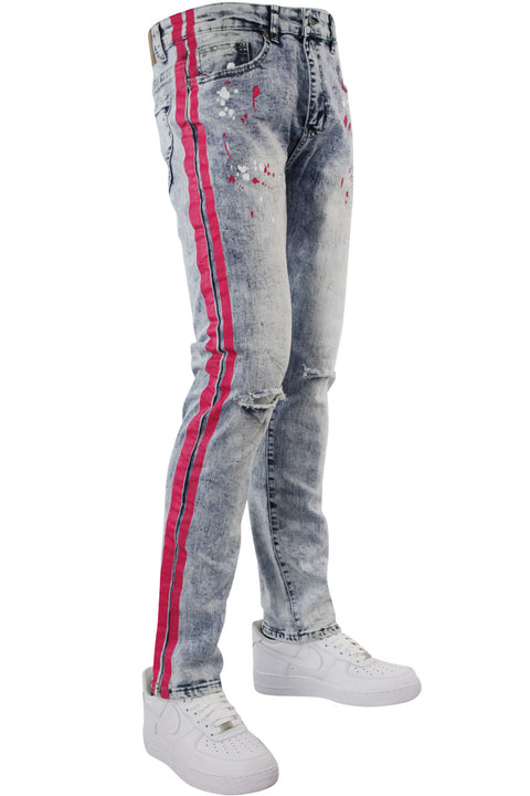 Neon Stripe Print Skinny Fit Track Denim Blue Wash - Pink (M4701DB) - Zamage