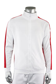 One Stripe Track Jacket White - Red (100-503)