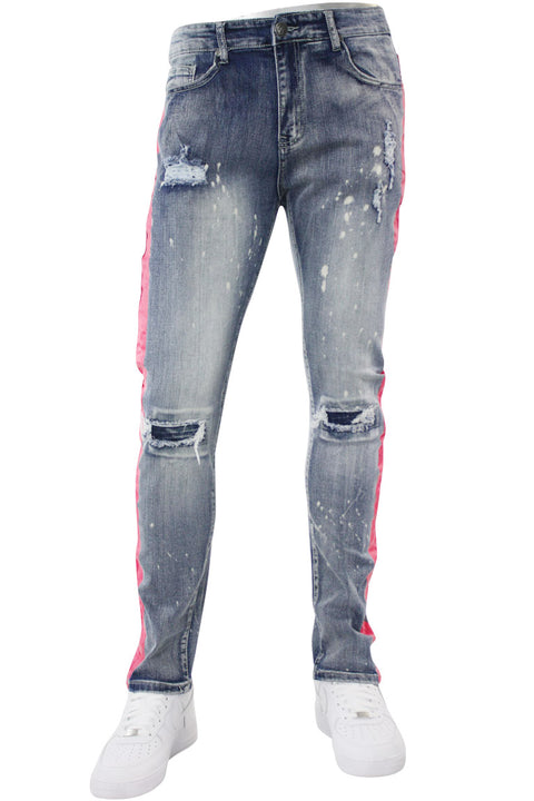 Side Stripe Distressed Skinny Fit Track Denim Bleach - Pink (M4708R1D) - Zamage