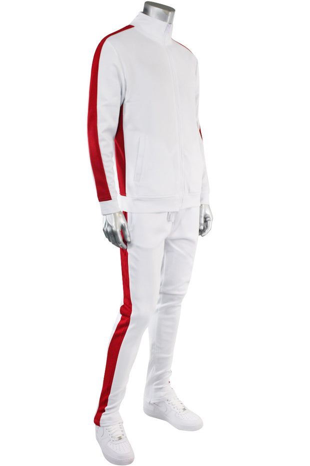 One Stripe Track Jacket White - Red (100-503) - Zamage