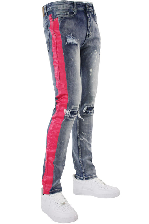 Side Stripe Distressed Skinny Fit Track Denim Bleach - Pink (M4708R1D)