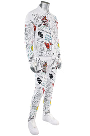 Graffiti Print Liftoff Skinny Fit Denim White (M4977T) - Zamage