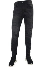 Constructed Moto Skinny Fit Denim Acid Black (M4567DB) - Zamage