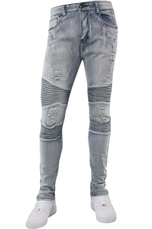 Ripped Moto Slim Fit Denim Bleach Wash (M4388D)