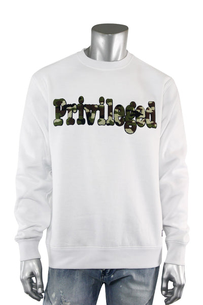 Chenille Embroidered Privileged Fleece Crewneck White (BF0617) - Zamage