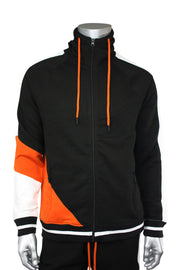 Jordan Craig Color Block Track Hoodie Black - Orange - White (8317 22S) - Zamage