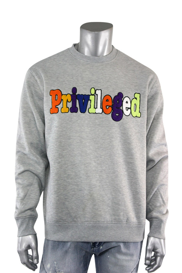 Chenille Embroidered Privileged Fleece Crewneck Heather Grey (BF0617)