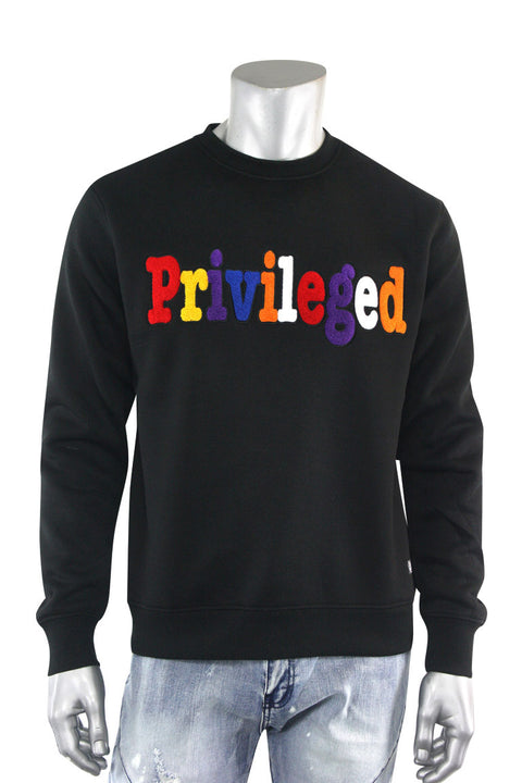 Chenille Embroidered Privileged Fleece Crewneck Black (BF0617)