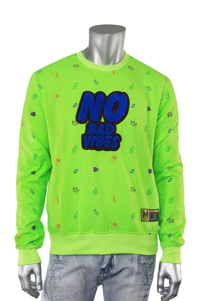 No Bad Vibes Embroidered Chenille Patch Crewneck Sweater Lime Green (19676)