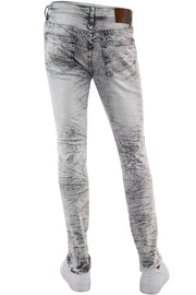 Ripped Paint Splatter Skinny Fit Denim Grey Acid (M4963R1T)