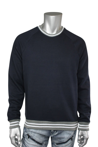 Jordan Craig Striped Crew Neck Sweatshirt Navy (8316T 22S) - Zamage