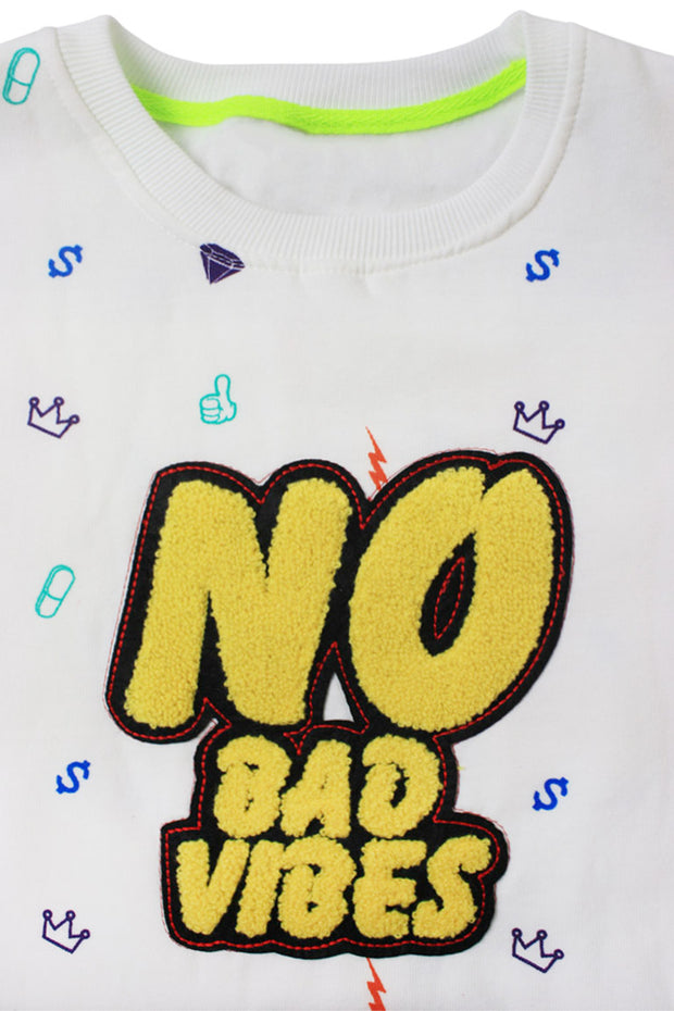No Bad Vibes Embroidered Chenille Patch Crewneck Sweater White (19676)