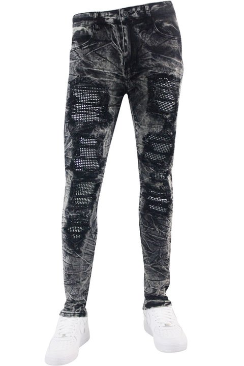 Ripped Paint Splatter Skinny Fit Denim Black Acid (M4963R1T) - Zamage