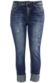Women's Cuffed Slim Fit Denim Antique Blue (WA42670D)