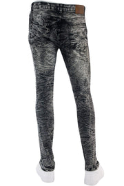 Ripped Paint Splatter Skinny Fit Denim Black Acid (M4963R1T)