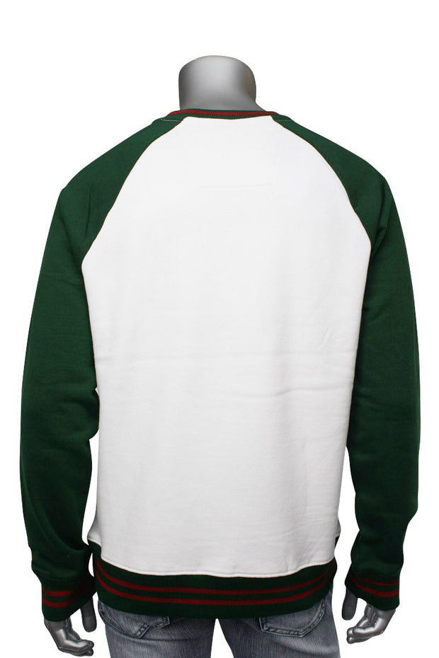 Jordan Craig Striped Crew Neck Sweatshirt Green (8316T) - Zamage