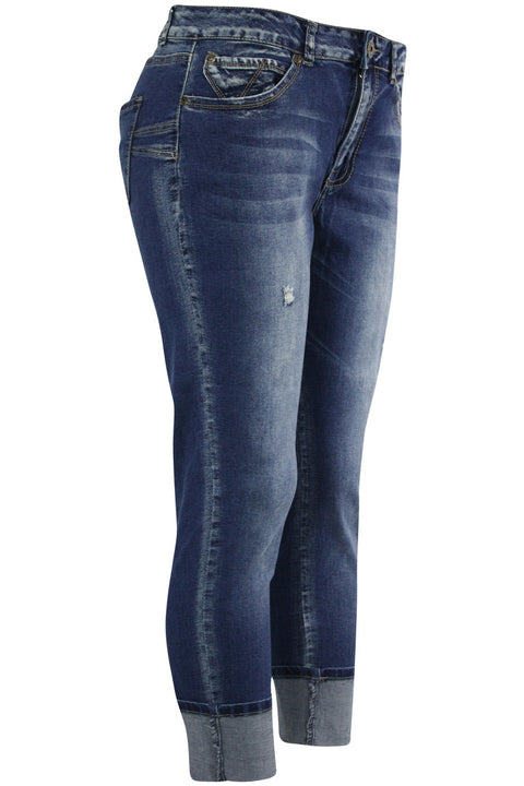 Women's Cuffed Slim Fit Denim Antique Blue (WA42670D) - Zamage