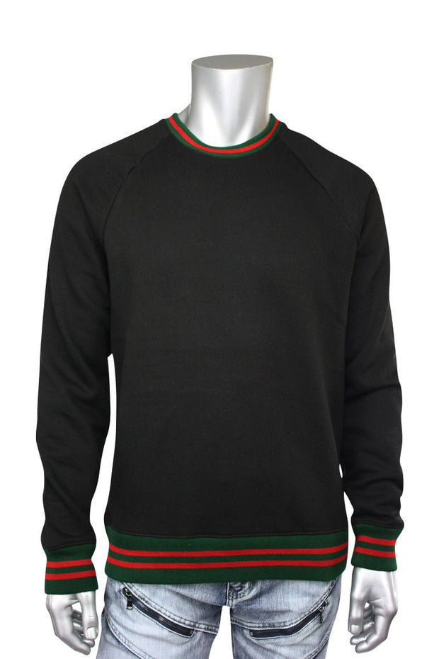 Jordan Craig Striped Crew Neck Sweatshirt Black (8316T) - Zamage
