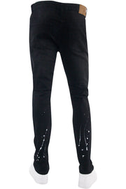 Destroyed Rhinestone Backin Skinny Fit Denim Black Wash (M5000D) - Zamage