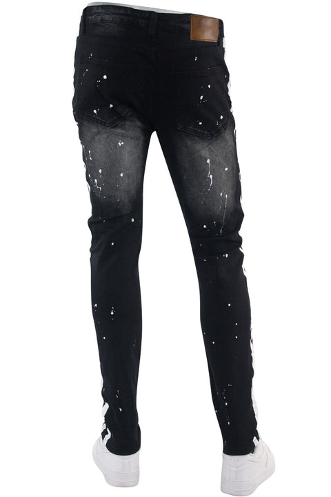 Twill Rhinestone Skinny Fit Denim Black - White (M4921T) - Zamage