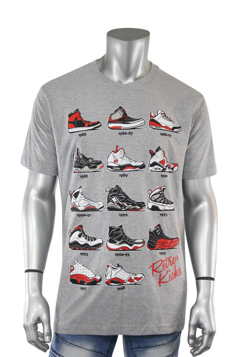 Retro Kicks Tee Heather Grey (Retro 22S) - Zamage