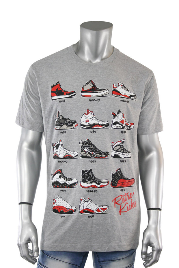 Retro Kicks Tee Heather Grey (Retro 22S)