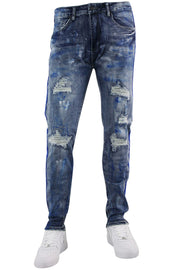 Side Tape Skinny Fit Denim Blue Wash (M4995R1D) - Zamage