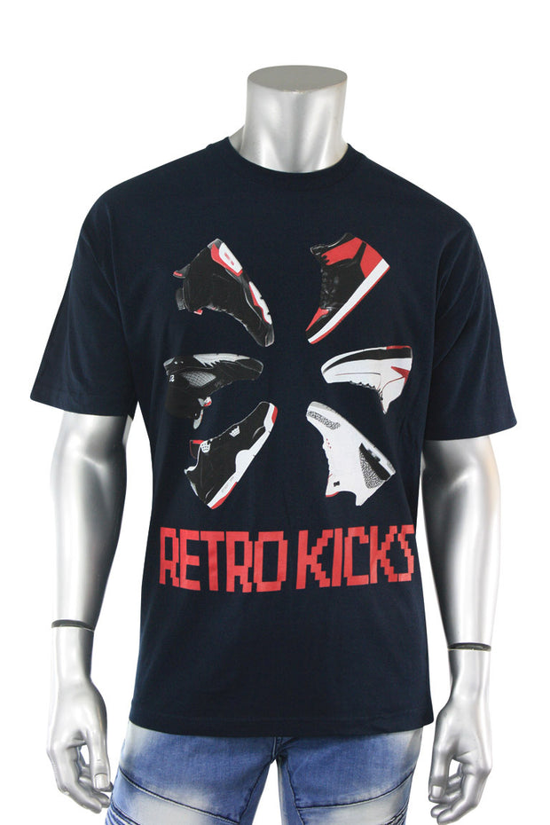 Retro Kicks Circle Tee Navy (KICKS 22S) - Zamage