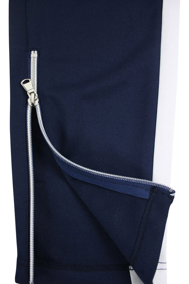 Side Stripe Zip Pocket Track Pants Navy - White (ZCM4418PS)