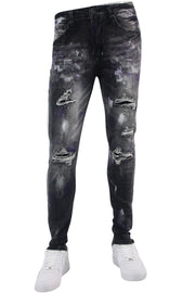 Side Tape Skinny Fit Denim Black - Purple (M4995R1D) - Zamage