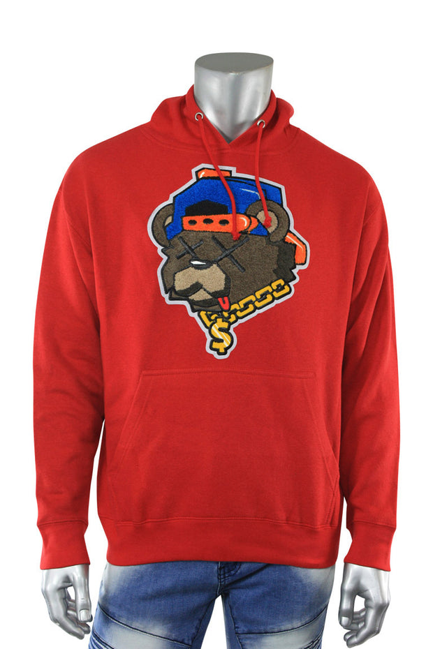 Bear Chenille Hoodie Red (1012HC)