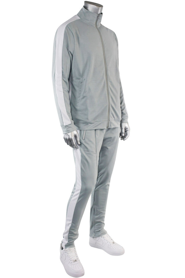Premium Side Stripe Track Jacket Grey - White (ZCM4420Z) - Zamage