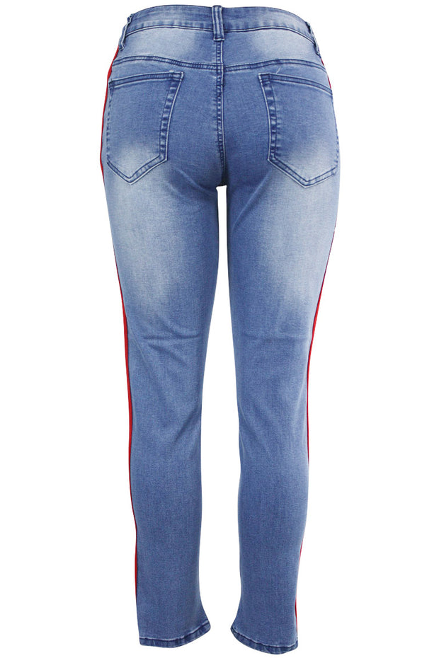 Women's Side Stripe Denim Light Blue (PA822)