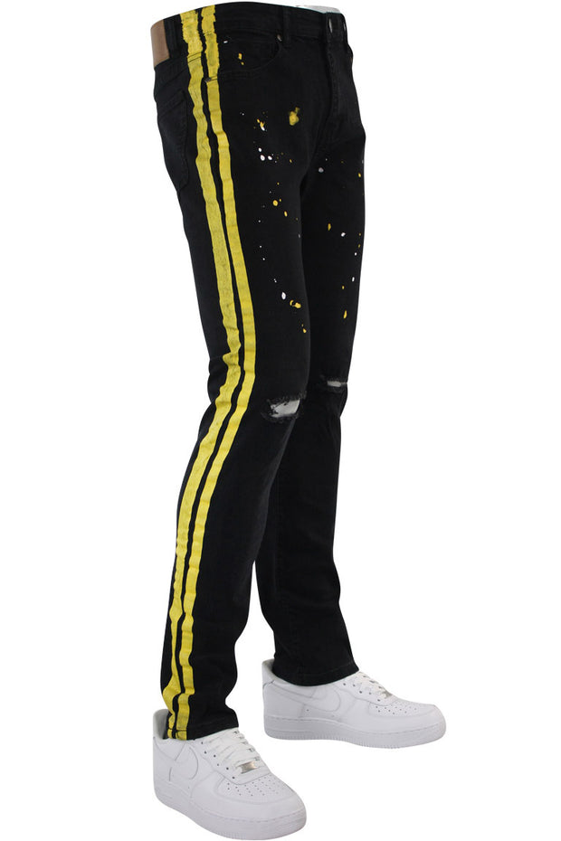 Side Stripe Print Skinny Fit Track Denim Black - Yellow (M4701DB) - Zamage