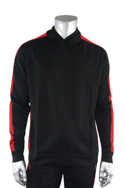 Premium Side Stripe Hoodie Black - Red (ZCM4419Z) - Zamage