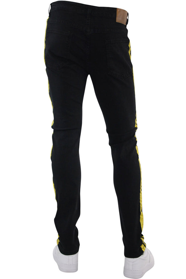 Side Stripe Print Skinny Fit Track Denim Black - Yellow (M4701DB)