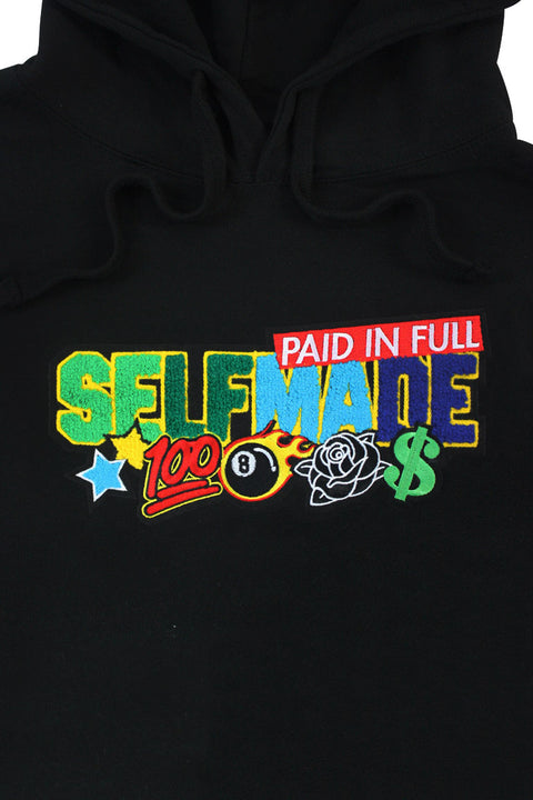 Paid In Full Chenille Hoodie Black (1010HC)