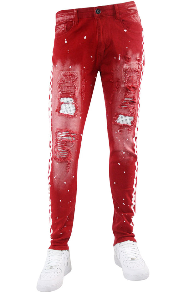 Twill Rhinestone Skinny Fit Denim Red (M4921T) - Zamage