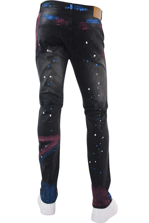 Paint Splatter Skinny Fit Denim Black Wash (M4769D)
