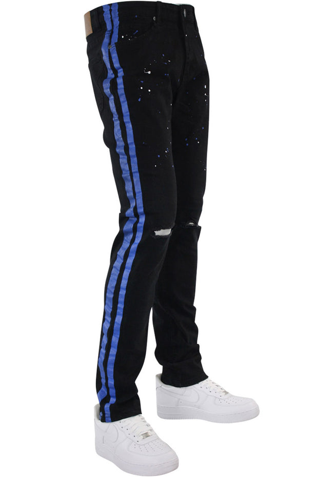 Side Stripe Print Skinny Fit Denim Black - Blue (M4701DB)